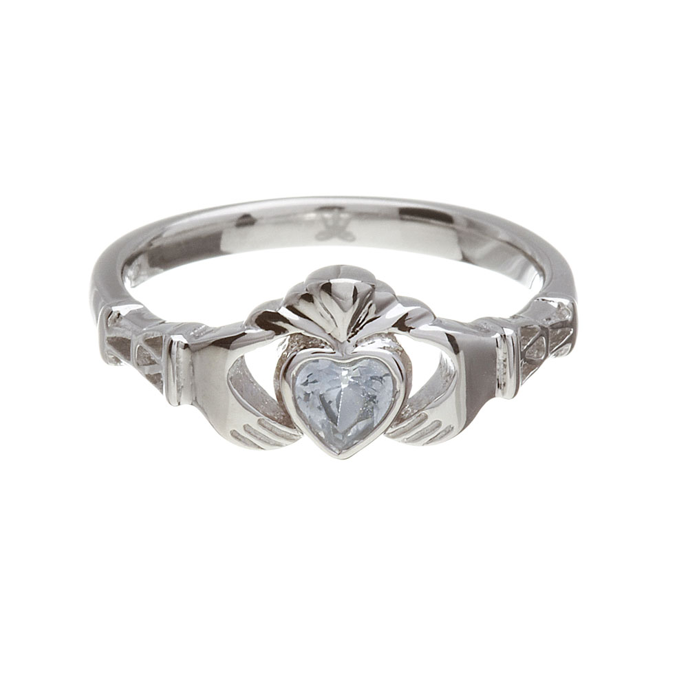 March - Aquamarine Birthstone Claddagh Ring