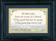 An Irish Wish From The Heart Of A Friend - 5x7 Blessing - Green Frame Landscape
