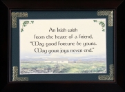 An Irish Wish From The Heart Of A Friend - 5x7 Blessing - Walnut Landscape Frame Landscape