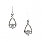 April - Cubic Zirconia Birthstone Claddagh Earrings