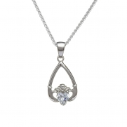 April - Cubic Zirconia Birthstone Claddagh Pendant