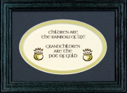 Children Are The Rainbow Of Life - 5x7 Blessing - Oval Green Frame
