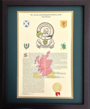 Clan Badge and History - Framed Walnut
