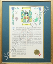 Coat of Arms & History - Framed Gold