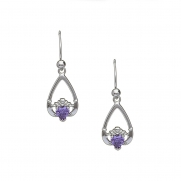 February - Amethyst Birthstone Claddagh Earrings