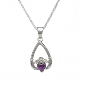 February - Amethyst Birthstone Claddagh Pendant
