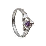 February - Amethyst Birthstone Claddagh Ring