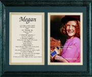 8x10 First Name Meaning (Double Matte/Green Frame)