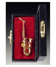 Gold Brass Saxophone Pin With Case