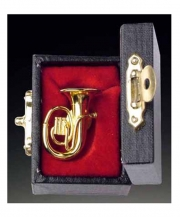 Gold Brass Tuba Pin With Case