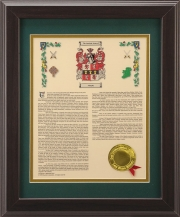 Personalized 11 x 14 History with Coat of Arms - Walnut Framed Print