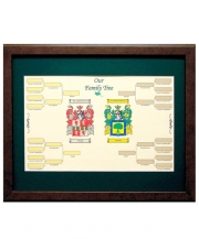 Family Tree with Double Coat of Arms Framed and Matted 16x20