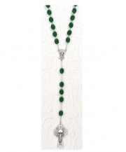 Irish Rosary With Shamrocks Engraved On The Beads