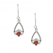 January - Garnet Birthstone Claddagh Earrings