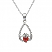 January - Garnet Birthstone Claddagh Pendant