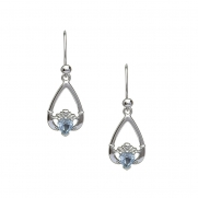March - Aquamarine Birthstone Claddagh Earrings