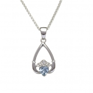 March - Aquamarine Birthstone Claddagh Pendant