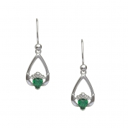 May - Emerald Birthstone Claddagh Earrings