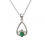 May - Emerald Birthstone Claddagh Pendant
