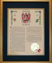Personalized 11 x 14 History with Coat of Arms - Gold Framed Print