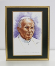 Pope Saint John Paul II Framed Watercolor Print 16x20