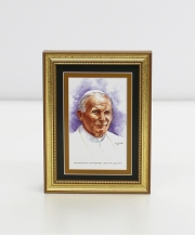 Pope Saint John Paul II Framed Watercolor Print 5x7