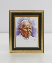 Pope Saint John Paul II Framed Watercolor Print 8x10