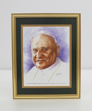 Pope Saint John XXIII  Framed Watercolor Print 11x14