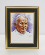 Pope Saint John Paul II Framed Watercolor Print 11x14
