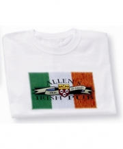 Irish T-Shirt - Personalized Irish Pub Coat of Arms Flag (White)