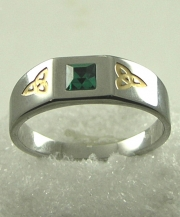 Two Tone Stone Set Trinity Ring