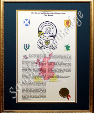 Clan Badge and History - Framed Gold