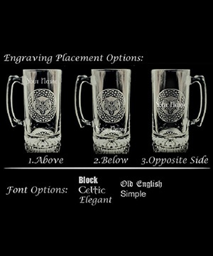 Coat of Arms Beer Stein - Engraving Placement Options