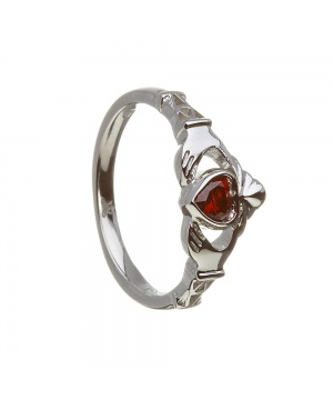 January - Garnet Birthstone Claddagh Ring