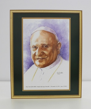 Pope Saint John XXIII  Framed Watercolor Print 16x20